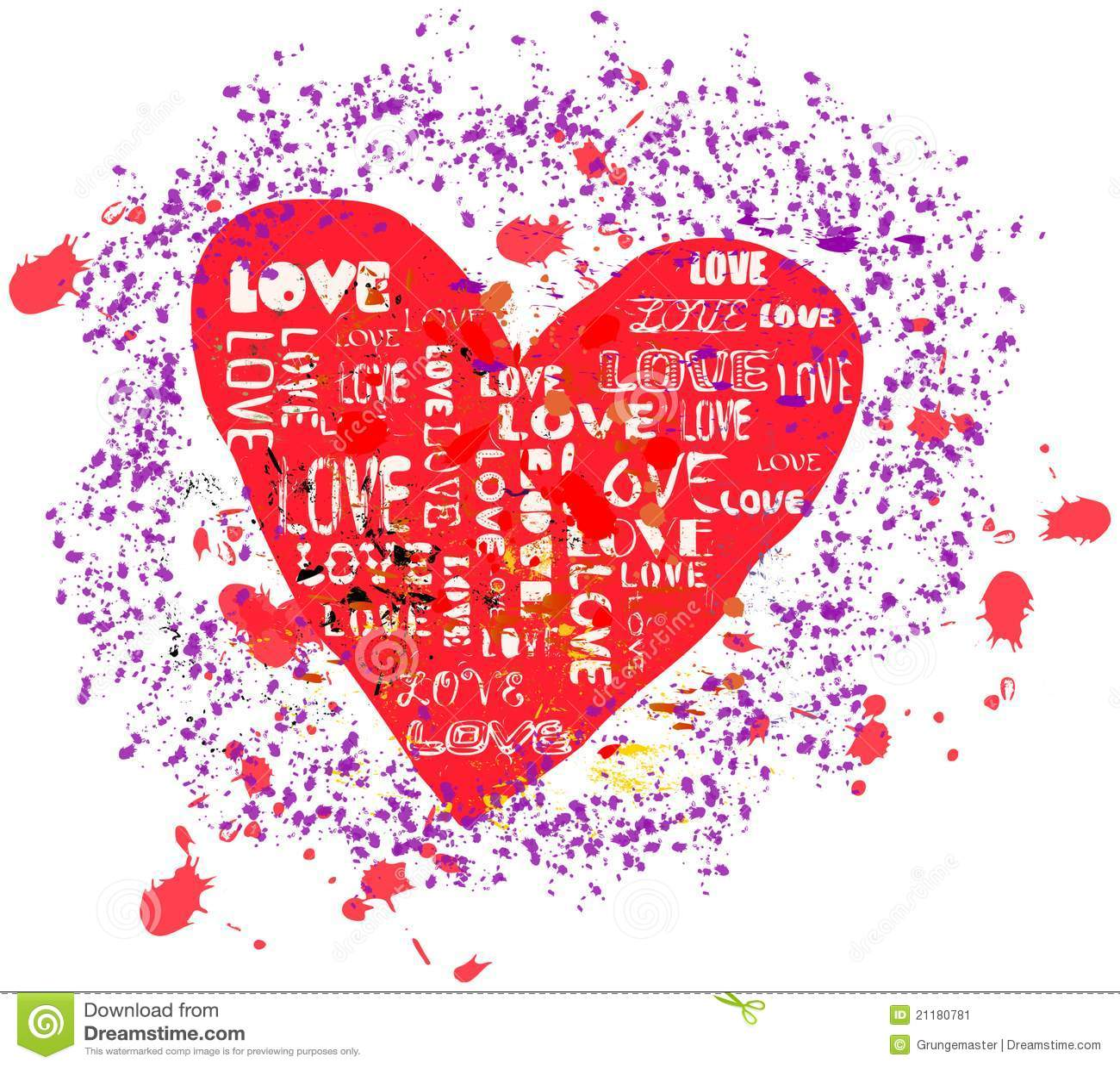 Love concept, grungy heart