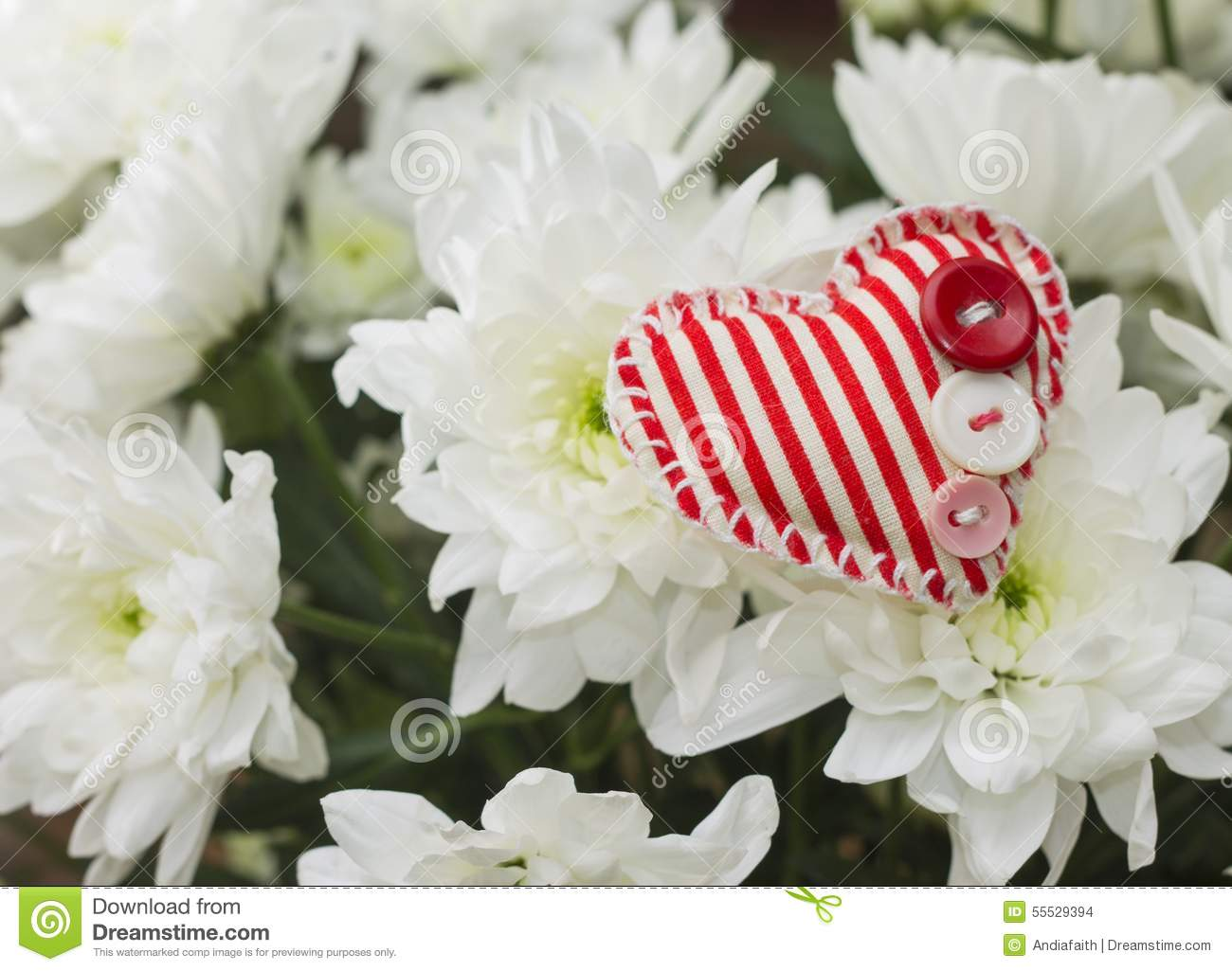 Love Concept Plush Heart On Bouquet Of Flowers Stock Photo Image