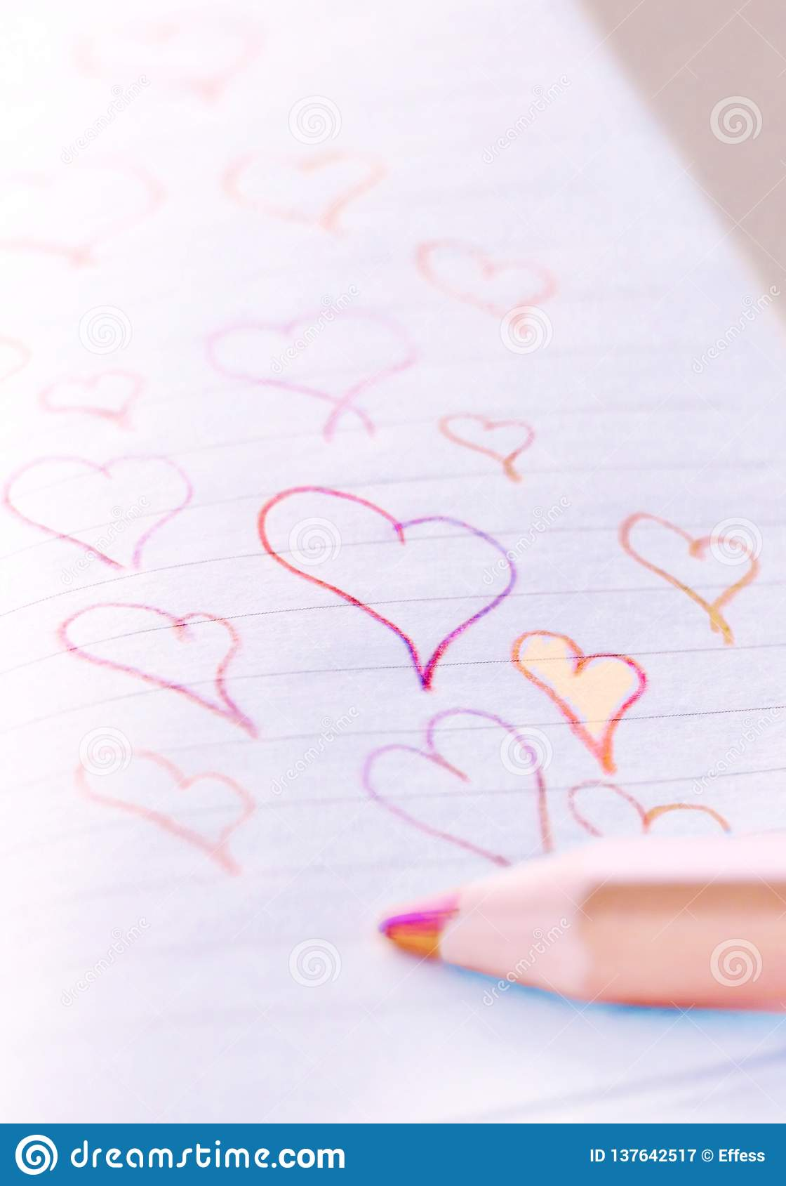 Love Concept. Red and Orange Heart Doodles
