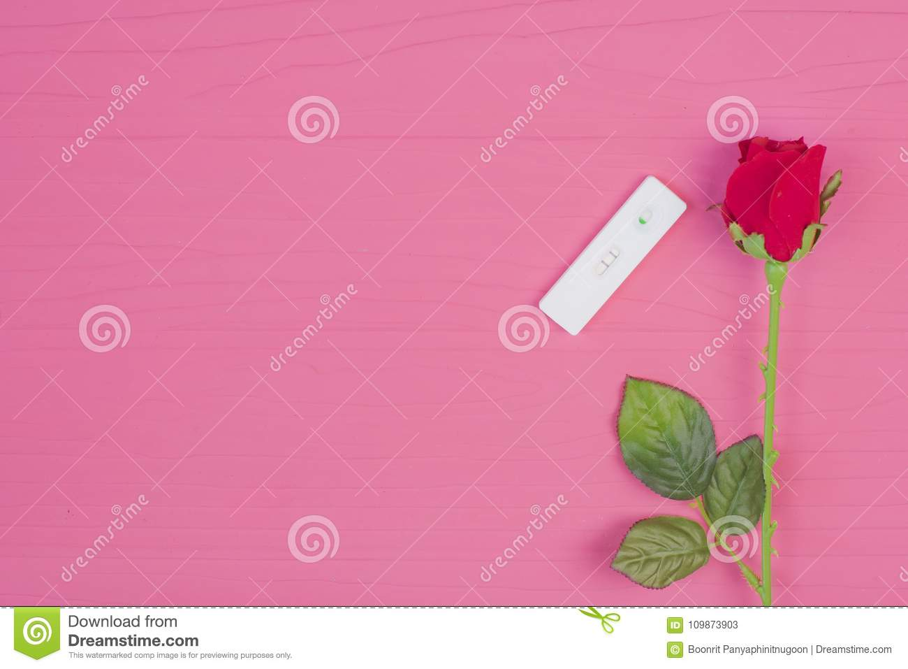 Love Concept : Red Rose And Pregnancy Test Kit On Pink Wooden Ba ...