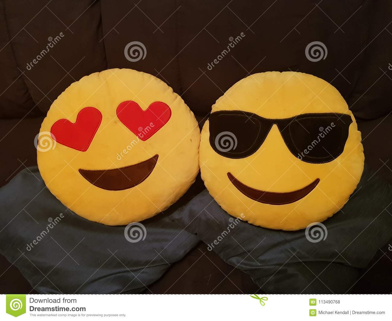 Emoji cushions stock photo  Image of emoji, heart, cushions