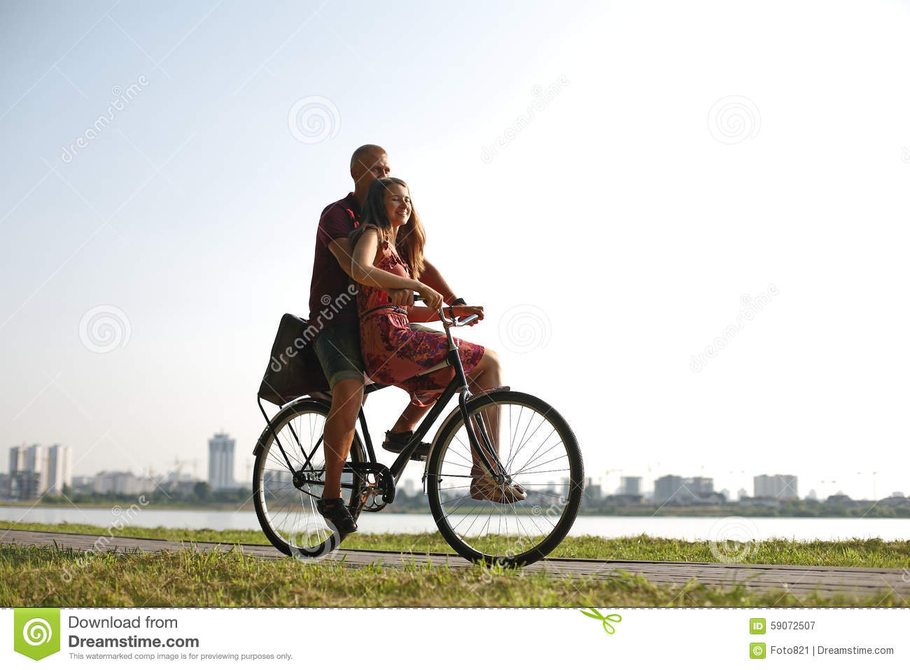In Love Couple On A Bicycle Stock Image Image Of Freedom Female
