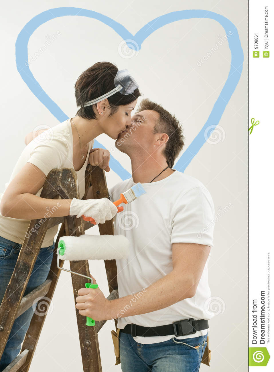 Love Couple Kissing In New Home Stock Image Image Of Brush