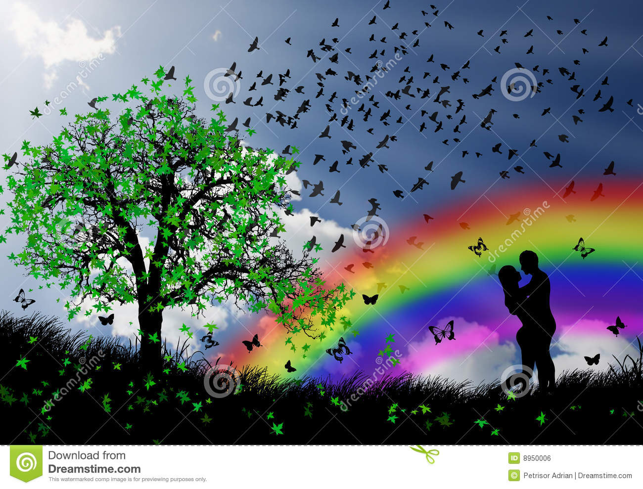 Love Couple In The Nature Spring Beauty Stock Illustration