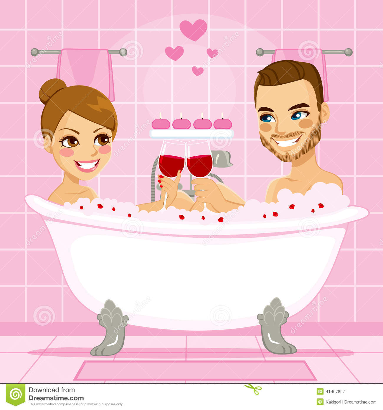 Romantic couple taking bath with wine and enjoying fuck 7