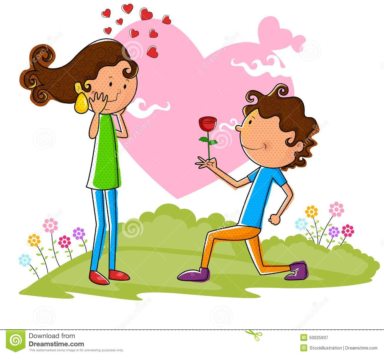 Love couple proposing with rose stock vector image 50025937 - Boy propose girl with rose image ...