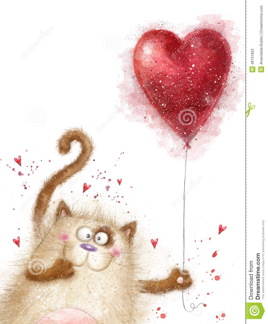 love cute cat with red heartcat in lovevalentines day