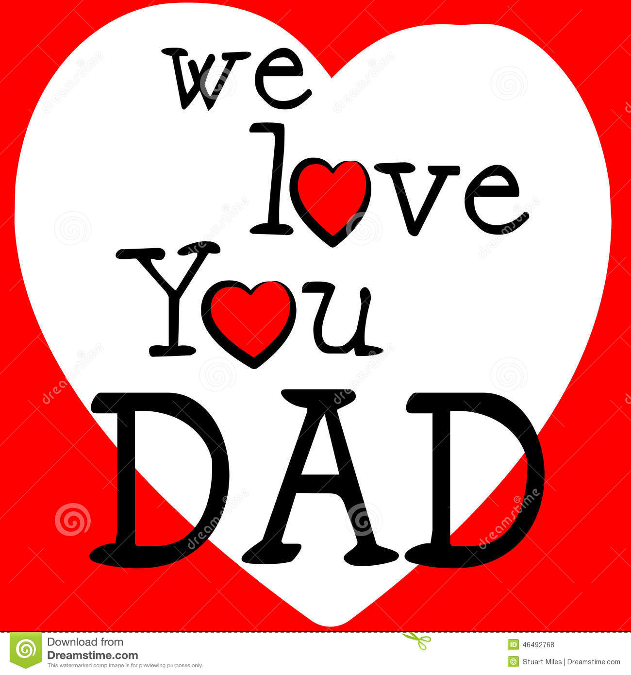We Love Dad Shows Fathers Day And Boyfriend Stock Illustration