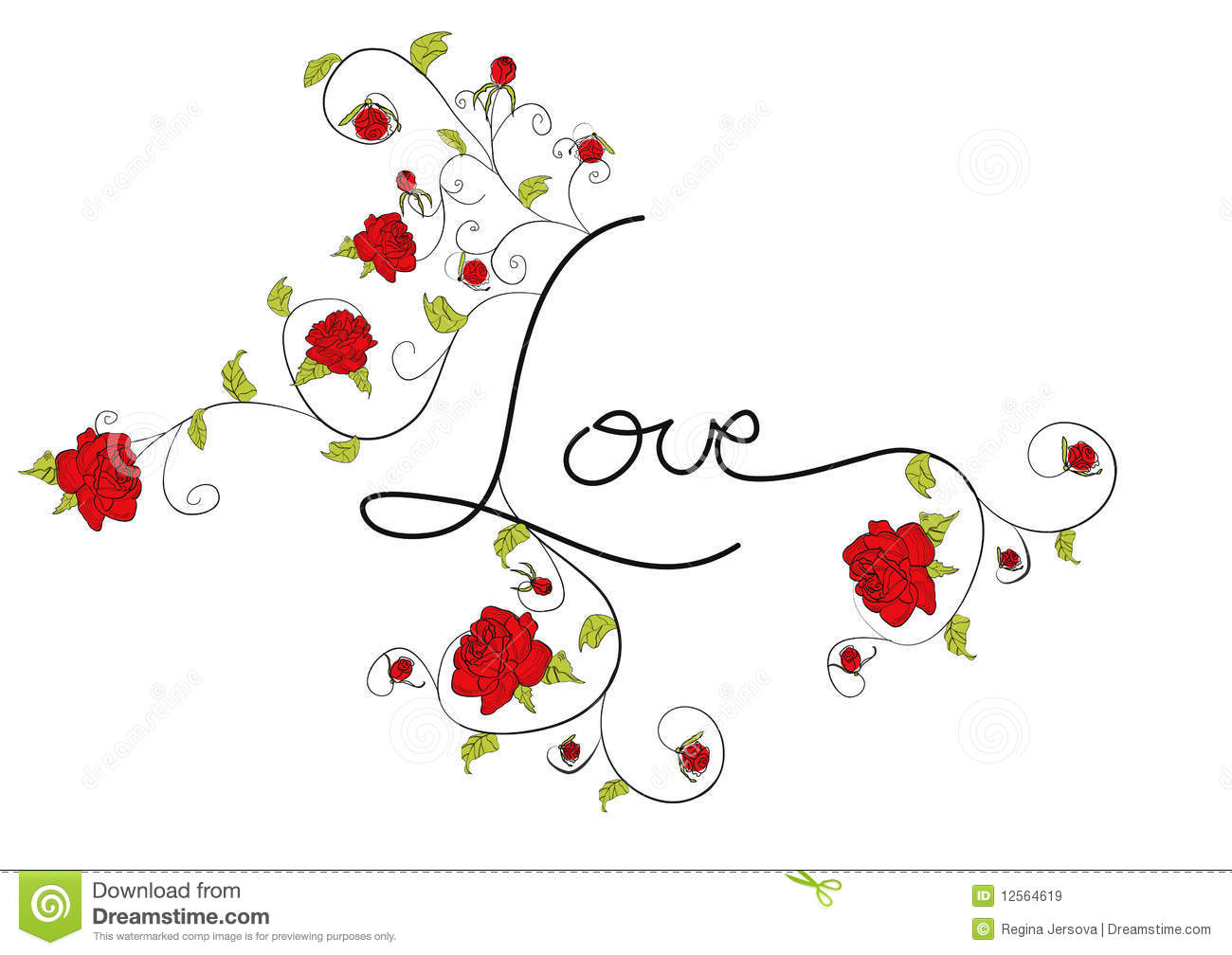 Decorazioni Lettere D Amore love with decorative roses flowers stock vector
