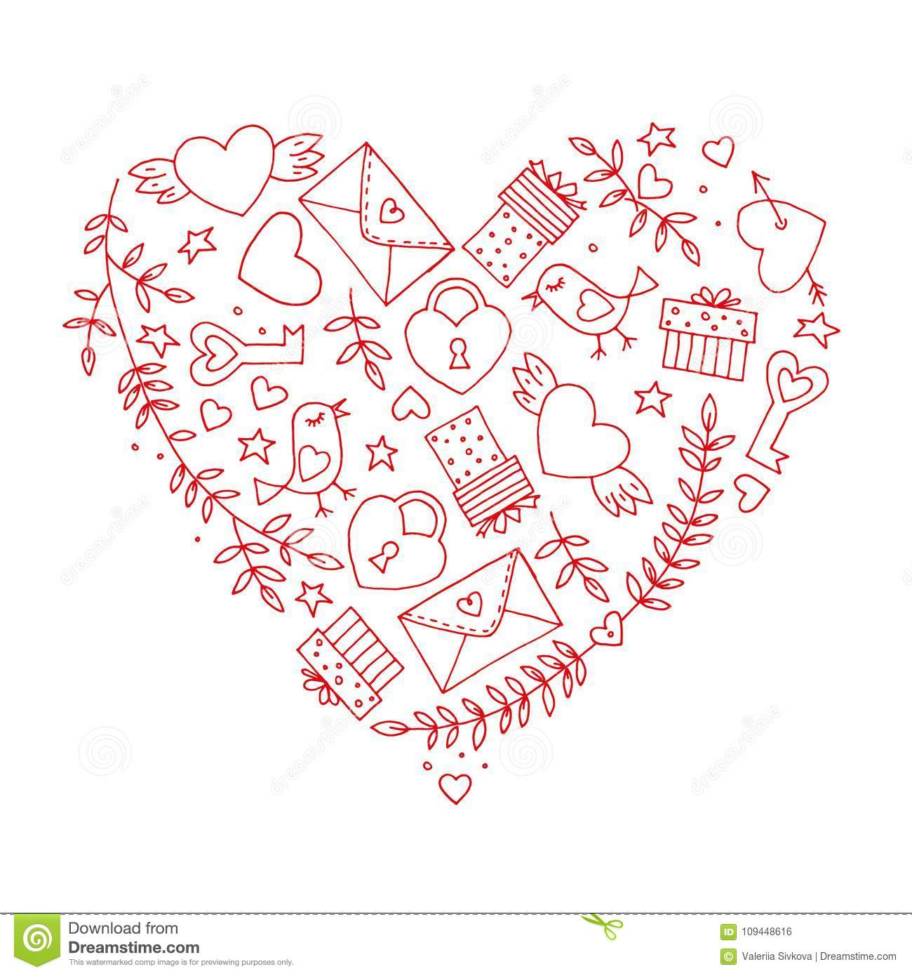 Love decorative vintage elements on white background. Hand drawn collection with heart, wings, branch with leaves, bird