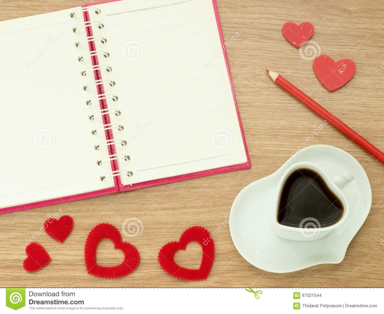 Book about color red - Valentines Day Background With Heart Shape Of Cup With Coffee Red Hearts