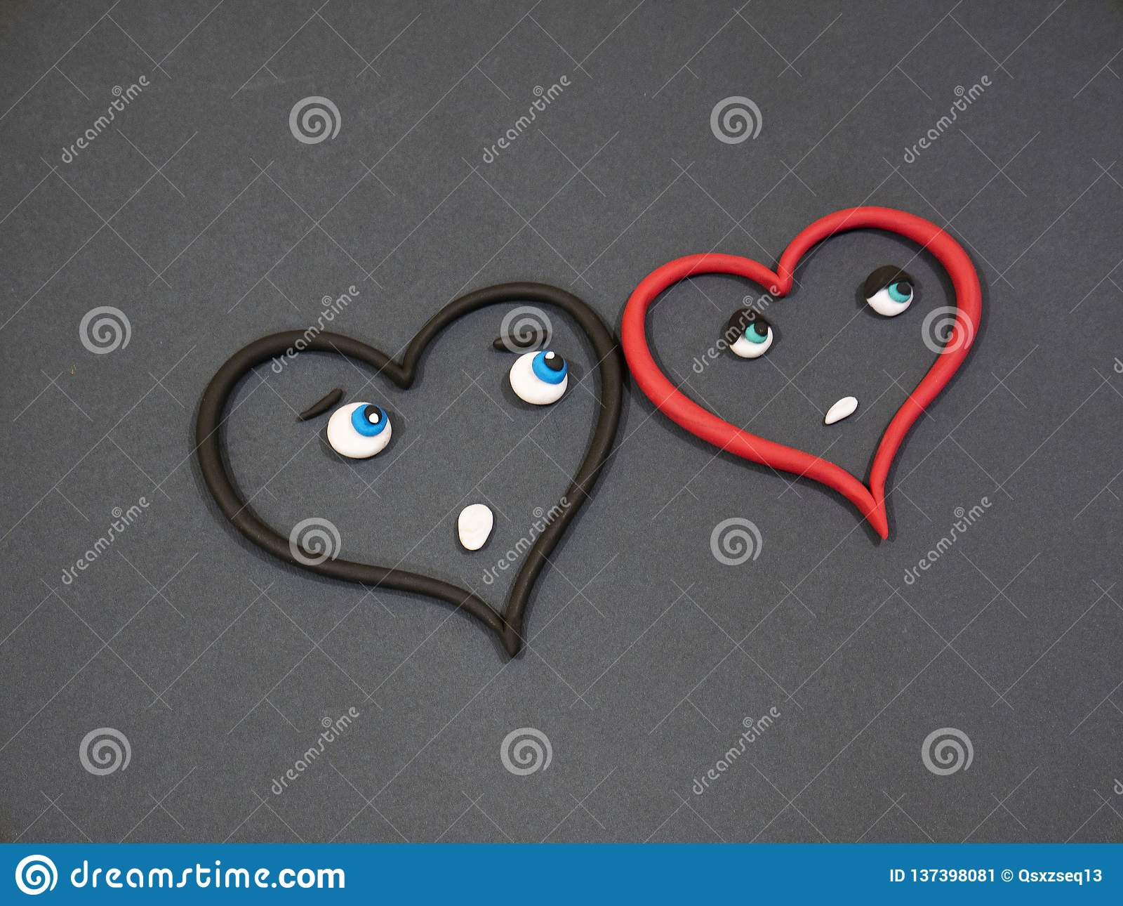 Love Does Not Love Tears Of Happiness Plasticine Heart Stock