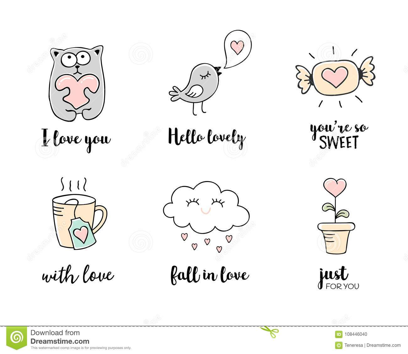 Love Doodles Hand Drawn Love Symbols And Valentines Day Quotes Set