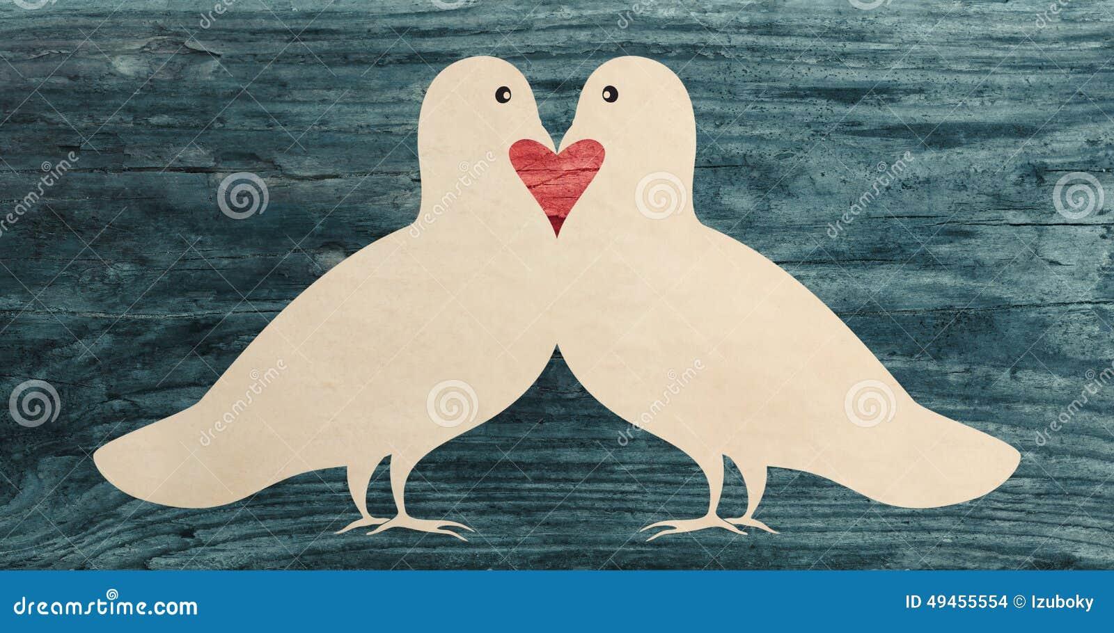 love dove pigeon bird paper cut silhouette stock photo
