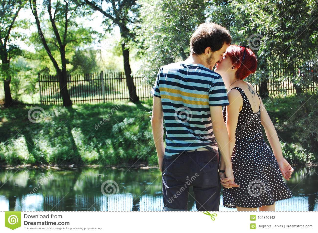 They Love Each Other On The Lakeshore  Stock Photo - Image