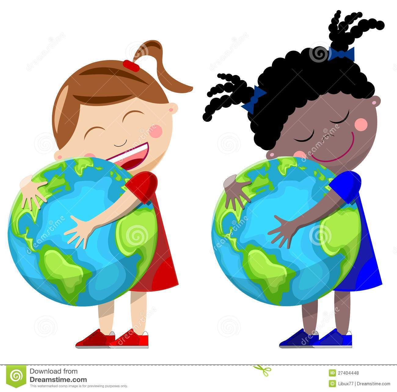 Little girls hugging the Earth isolated over white background.