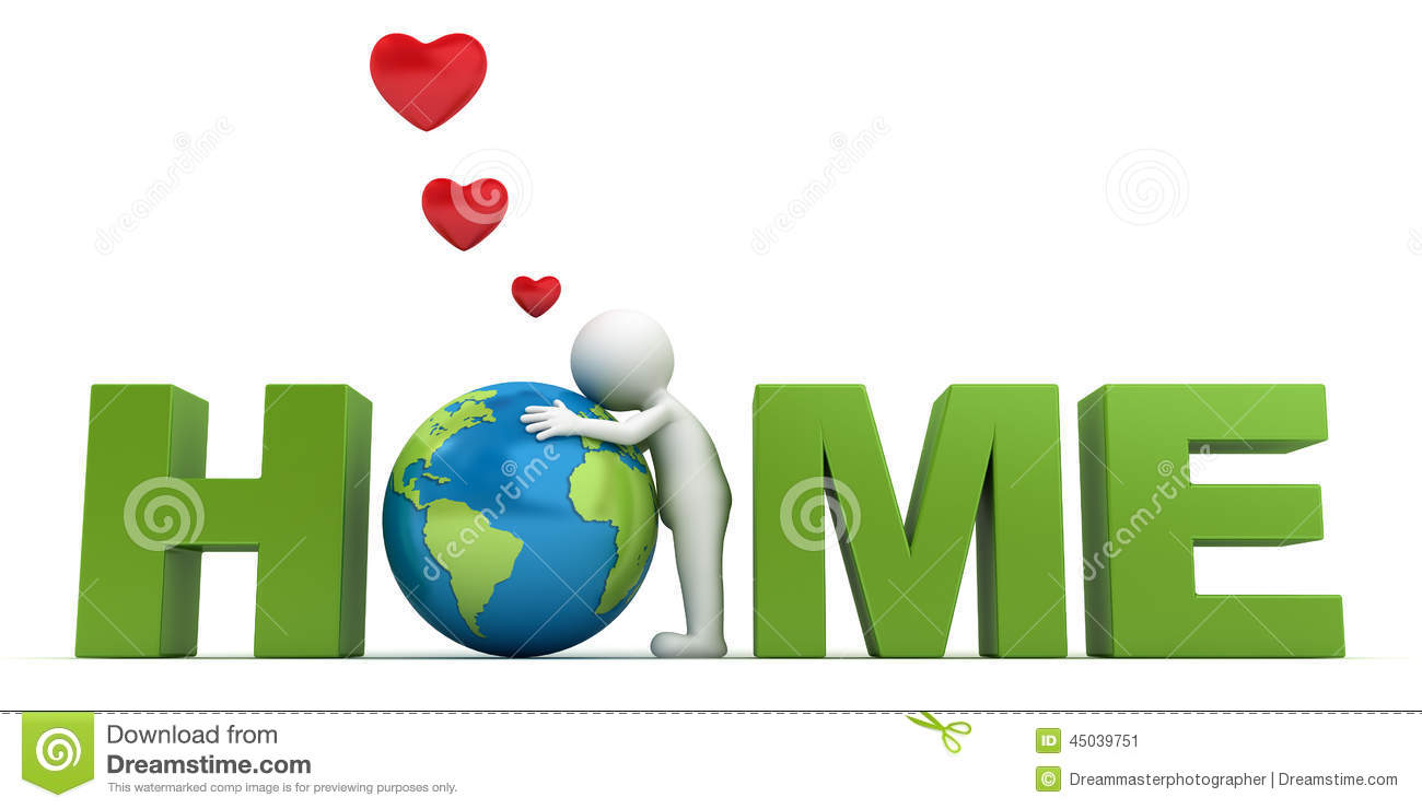 love the earth concept 3d man hugging green globe in word