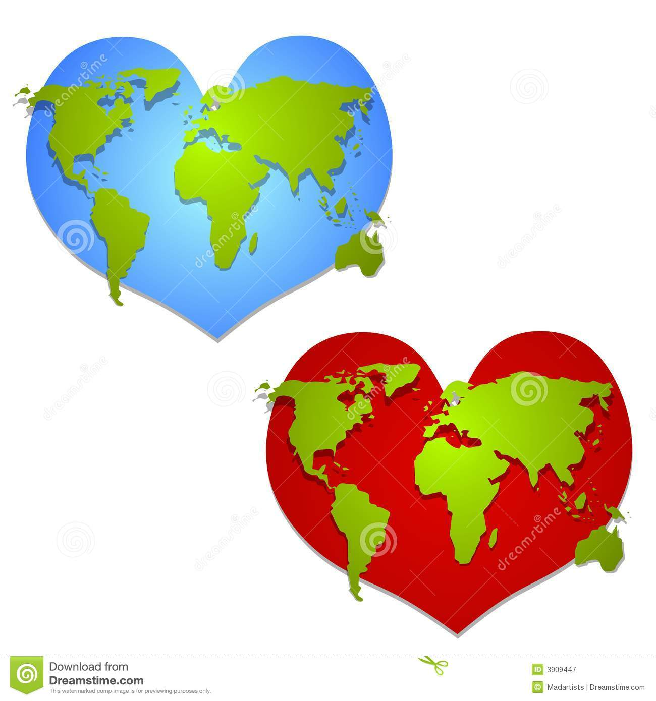 clip art illustration of your choice of 2 hearts featuring a map of ...