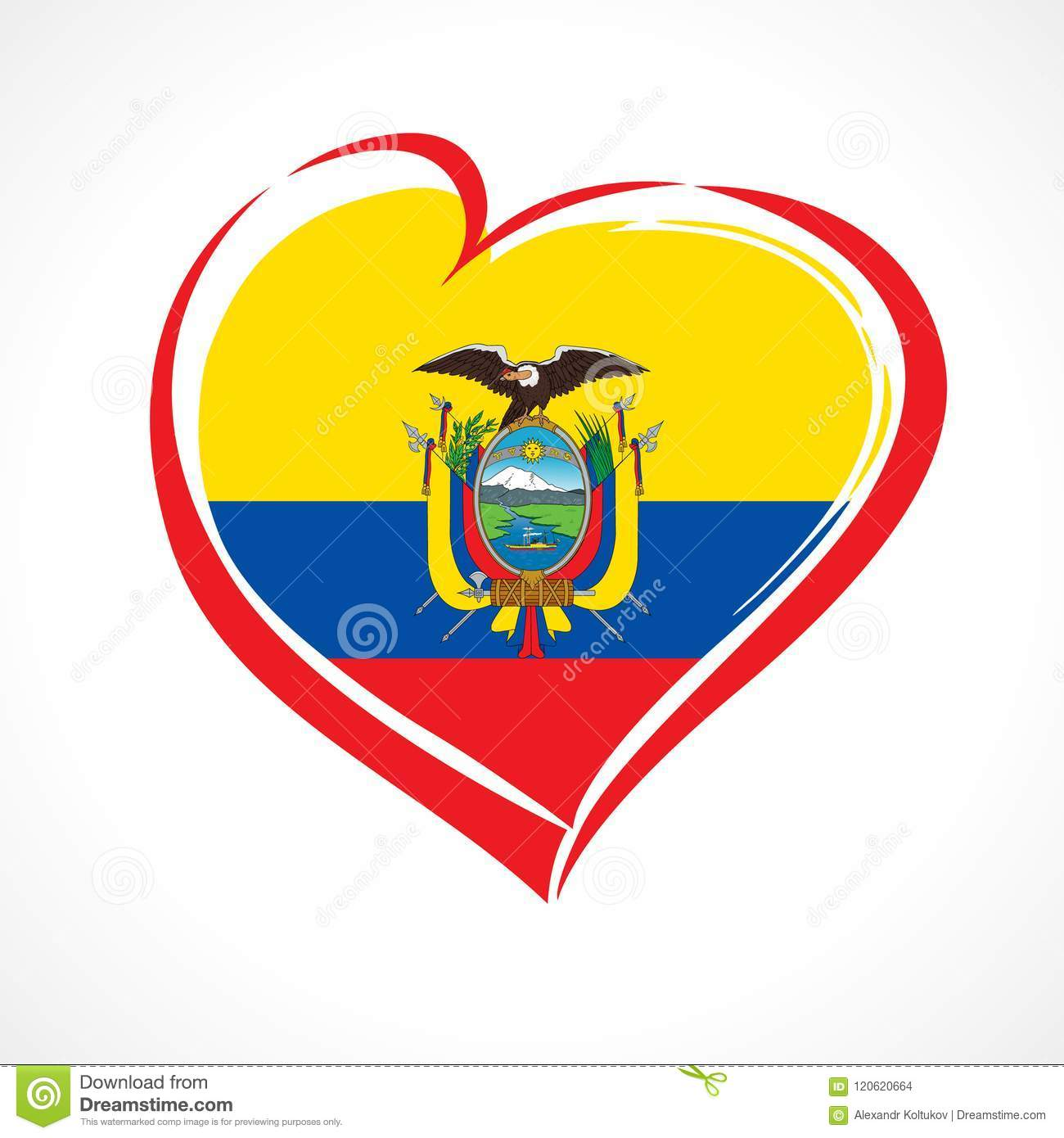 love ecuador emblem with heart in national flag color stock vector