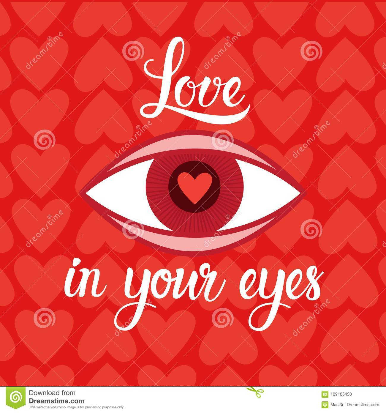 Love In Eyes Heart Shape Red Background For Valentines Day