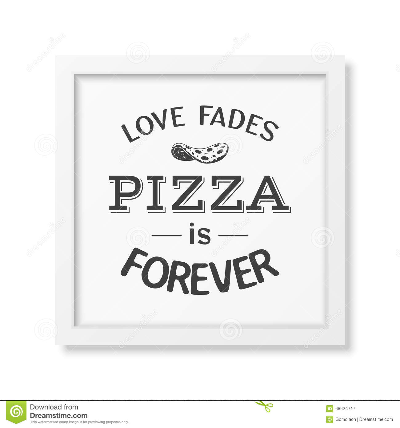 Love Fades Pizza Is Forever Quote Typographical