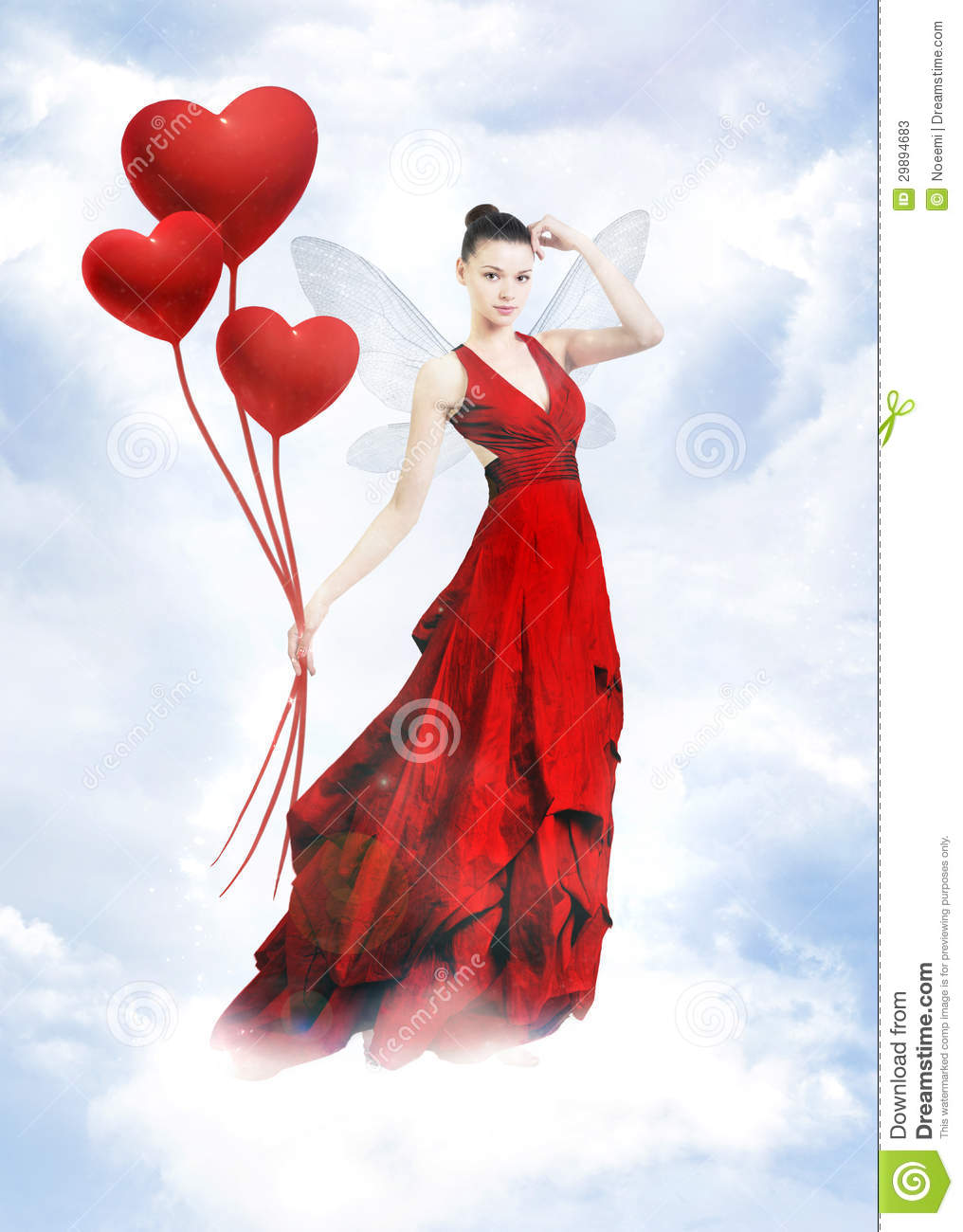 Atractive Love Fairy In Clouds Stock Image Image 29894683