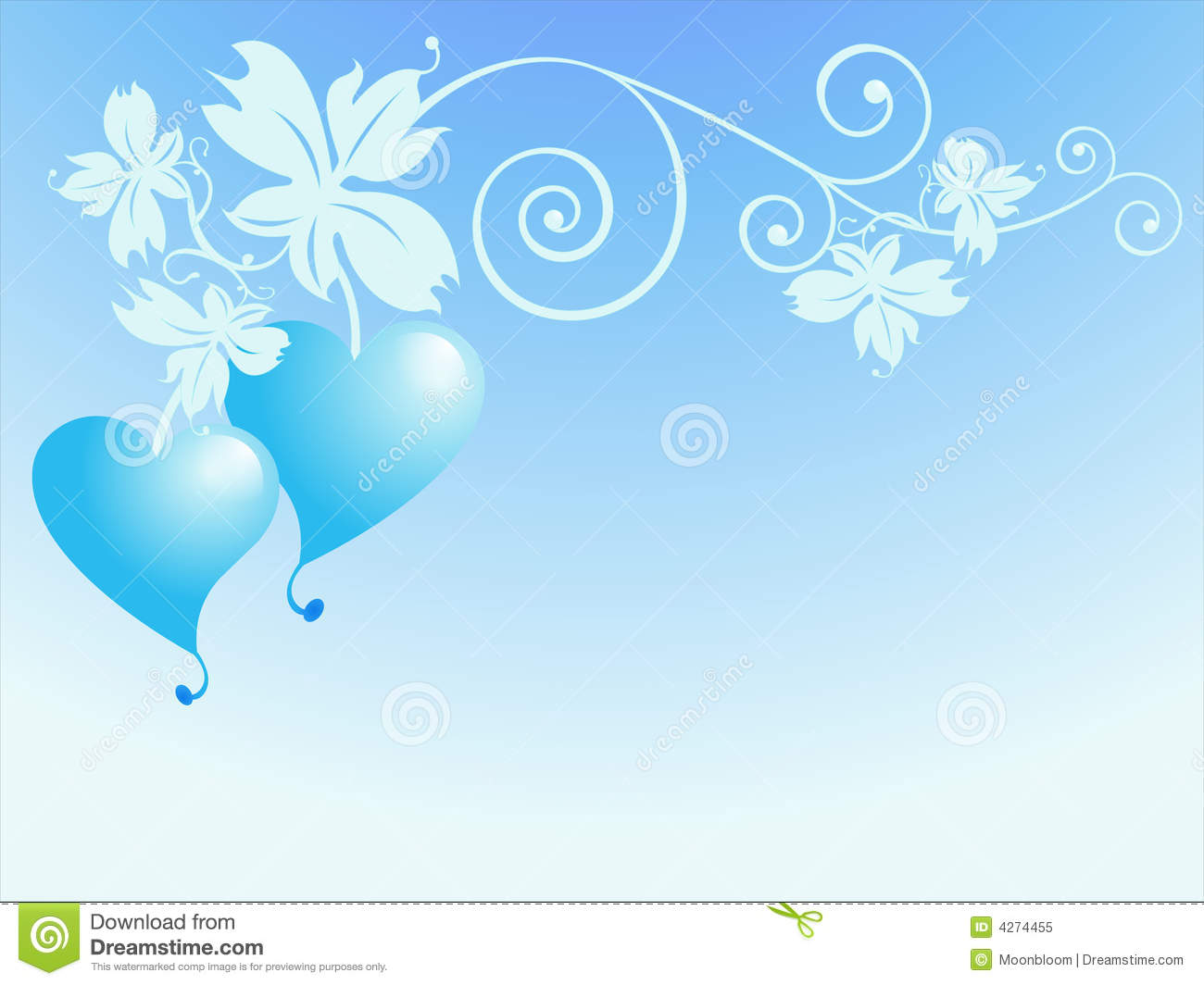 : branch with leaves and heart fruits over light blue background ...