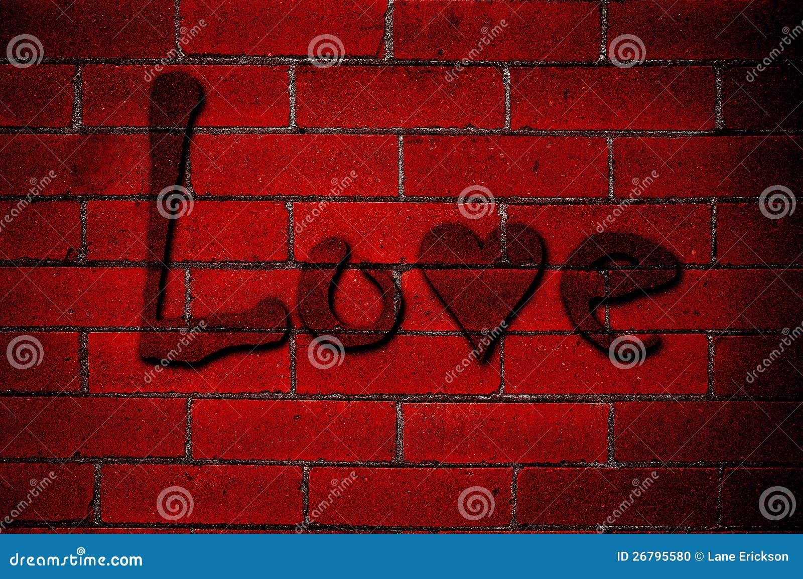 Grafiti wall red - Love Graffiti On Red Brick Wall Stock Photo