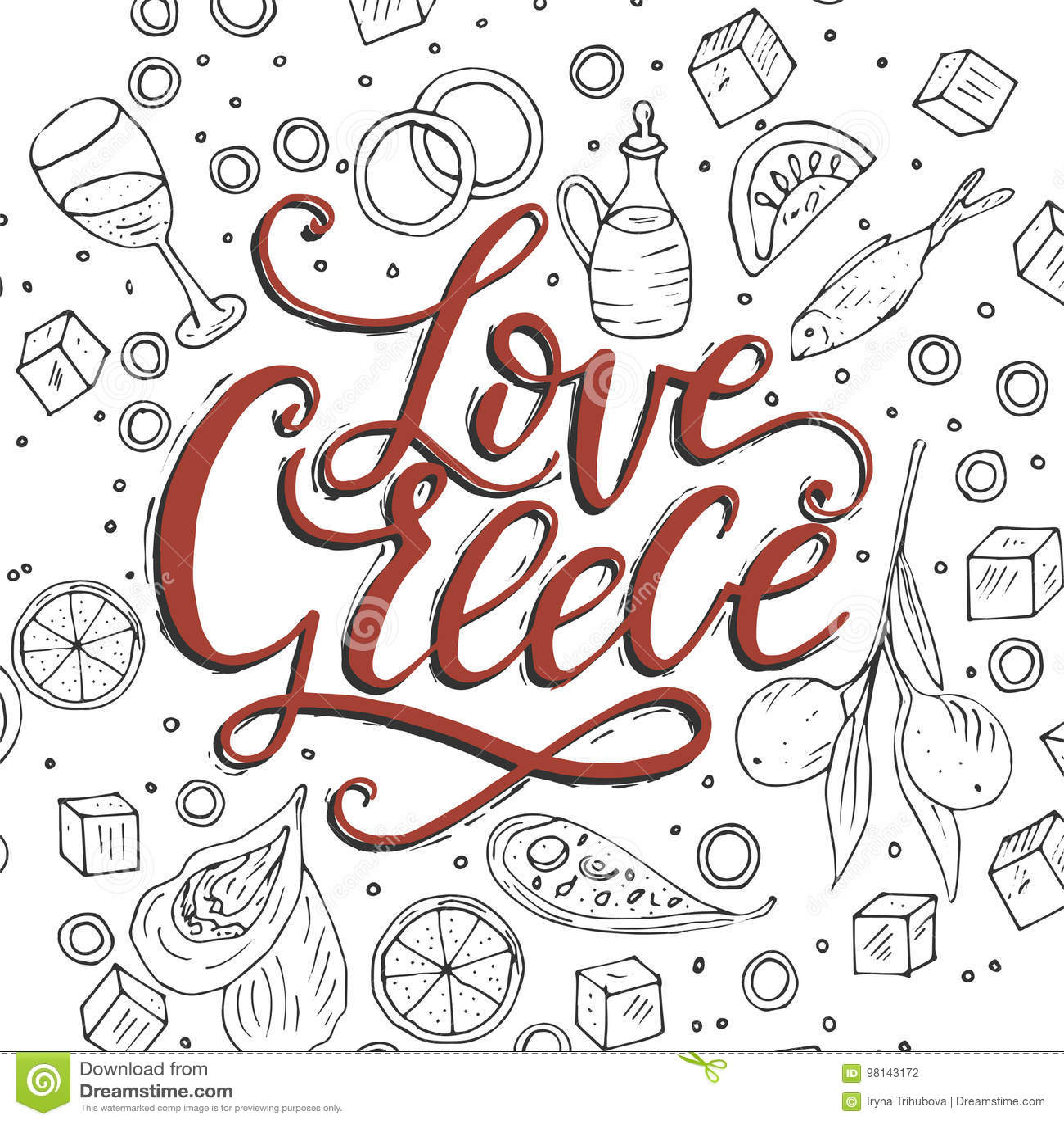 Love Greece Lettering Handdrawn Quoten Stock Vector Illustration