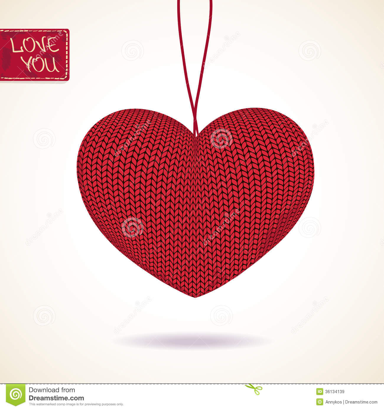 Love Greeting Card With Knitted Heart Royalty Free Stock ...