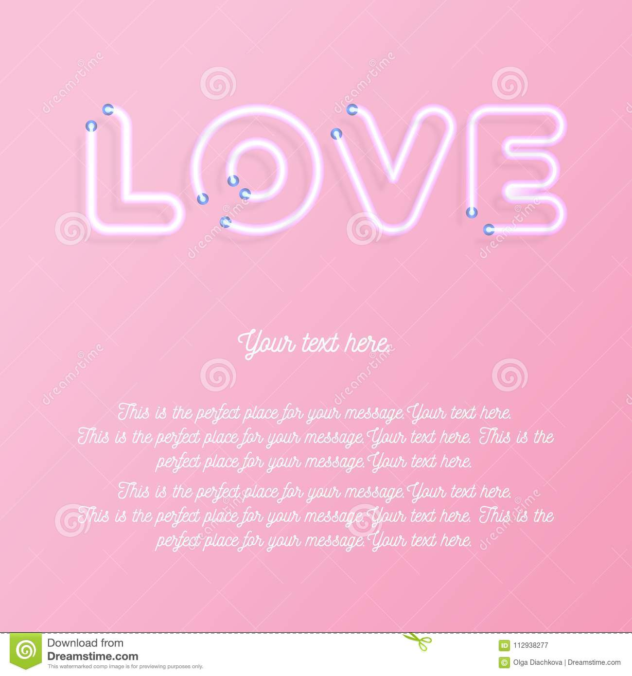 Love Greeting Card Wtih Copy Space On Pink Background For Promotion