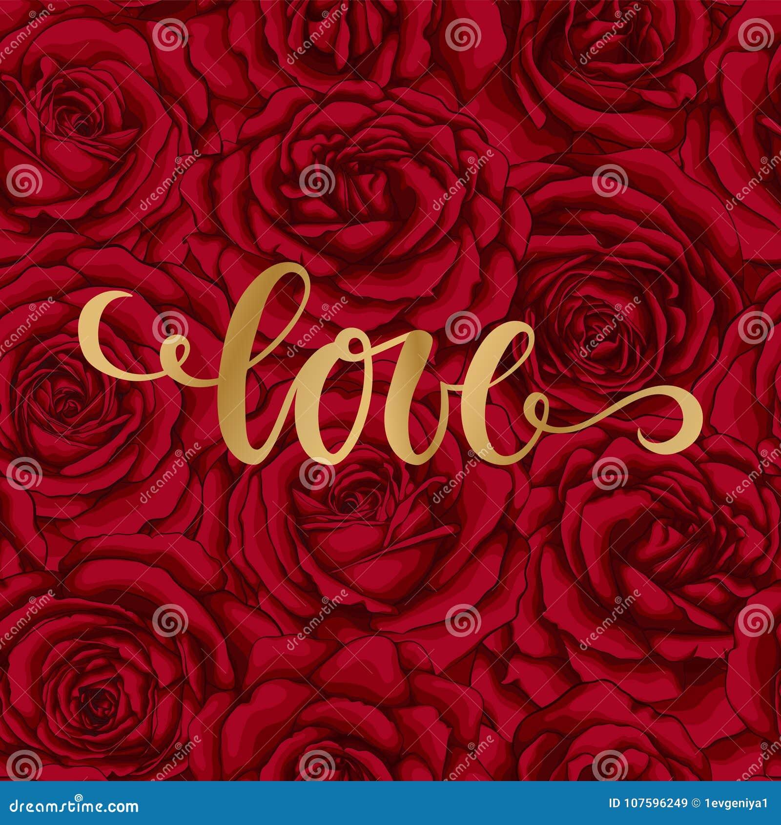 Love. Hand Drawn Brush Pen Lettering On Background Flower
