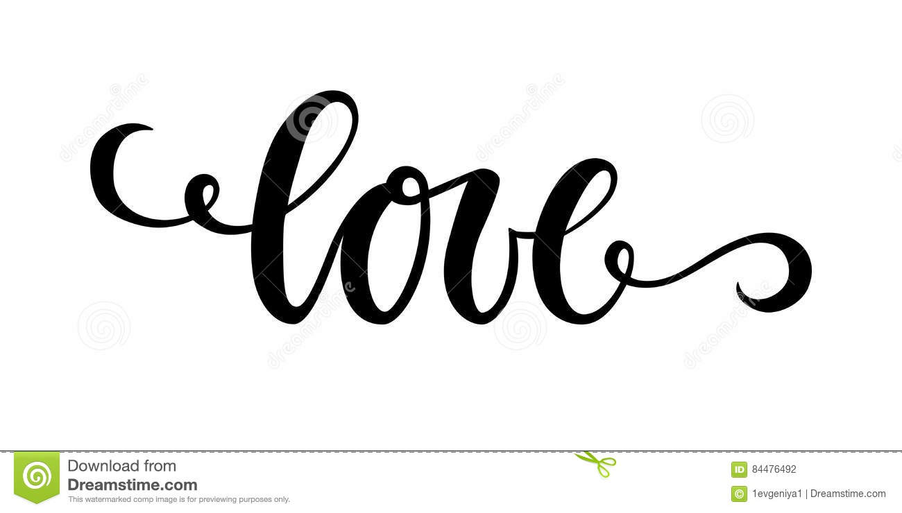 Love Hand Drawn Creative Calligraphy And Brush Pen