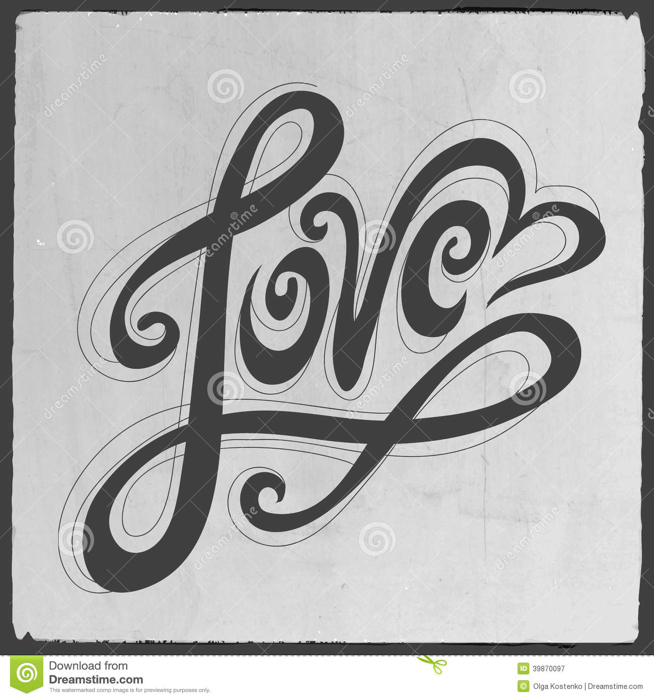 Love Hand Lettering Stock Vector Image 39870097