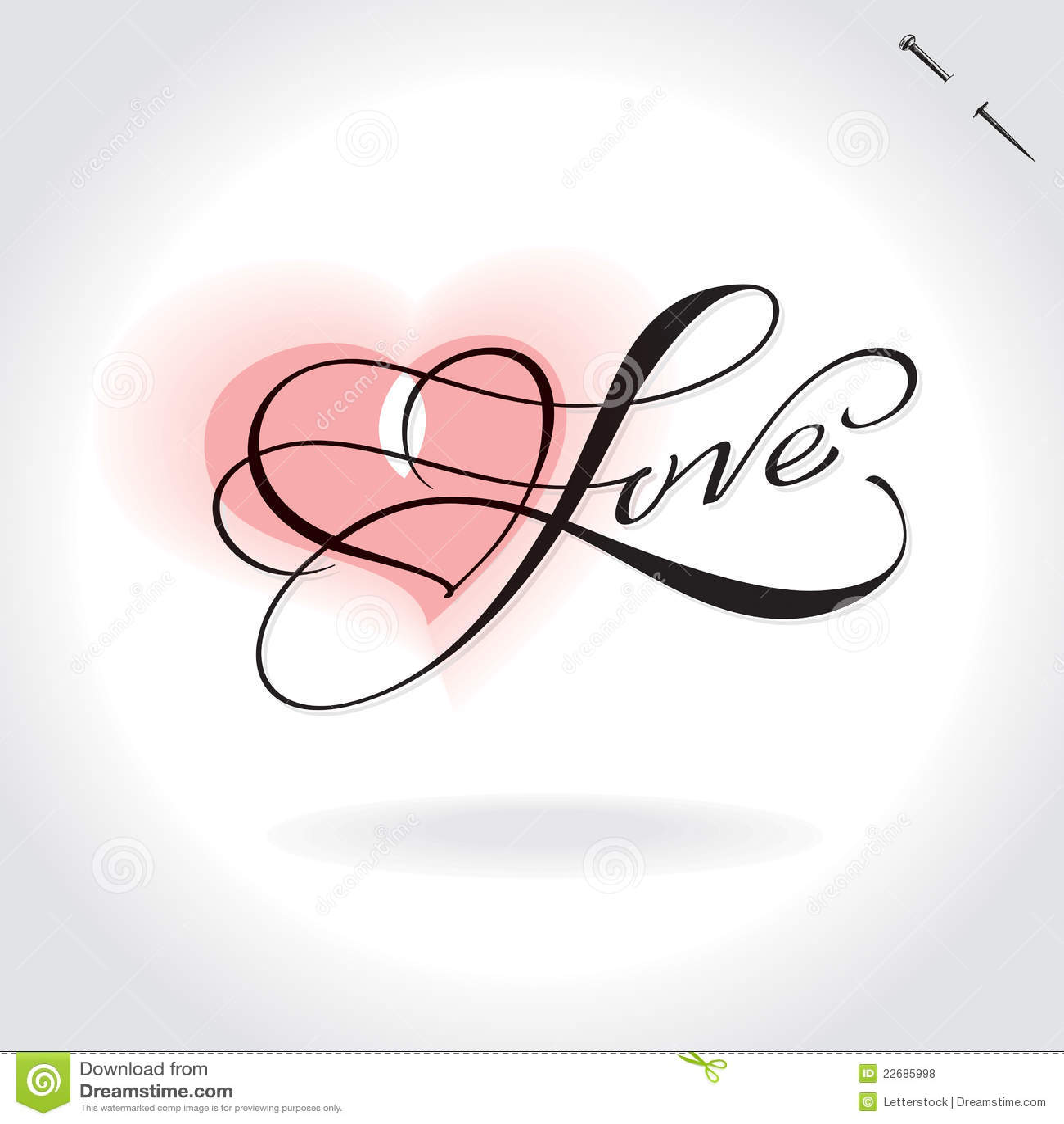Love English Calligraphy Love hand lettering - handmade
