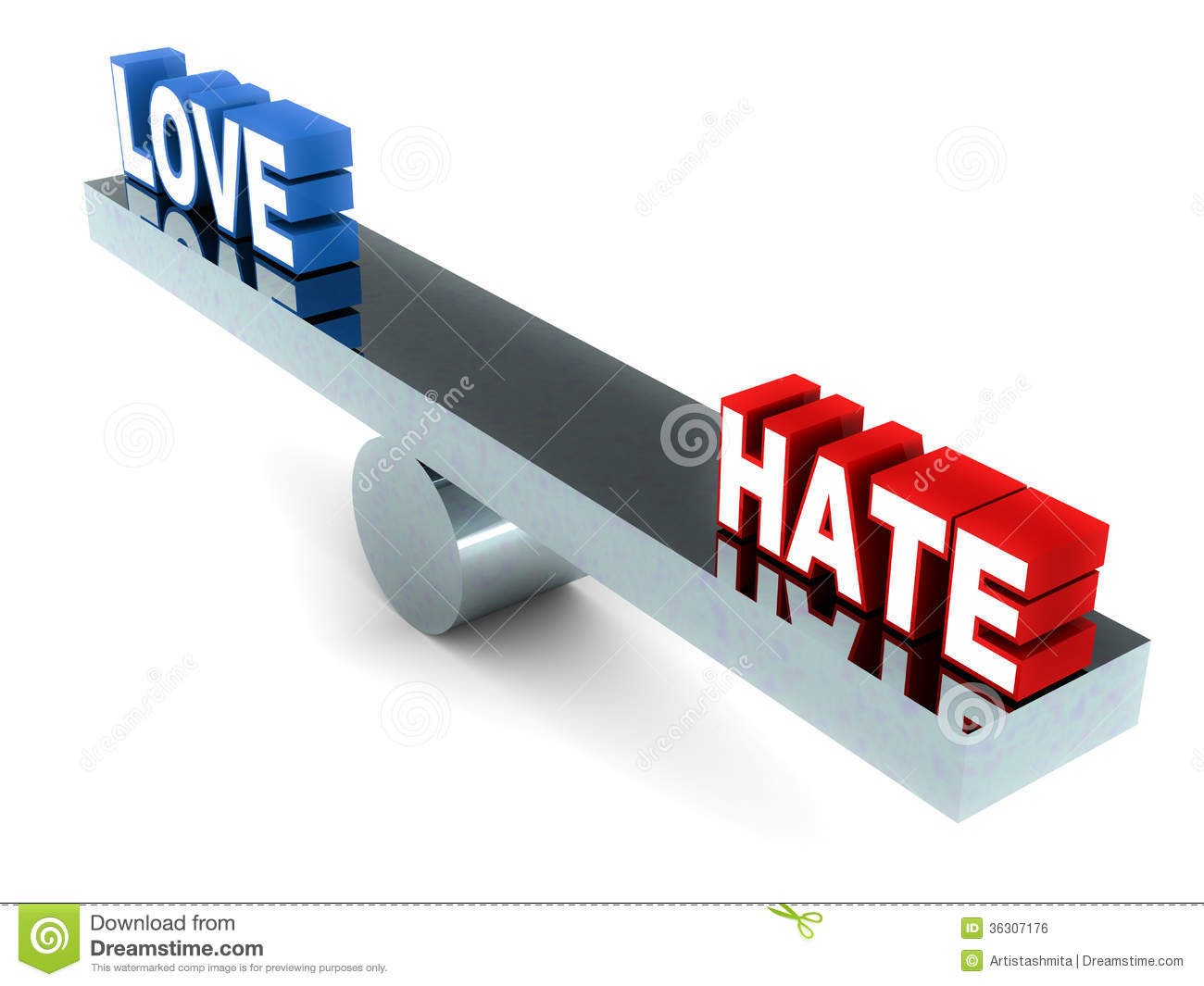 Love and hate words in balance, on a balance, white background.