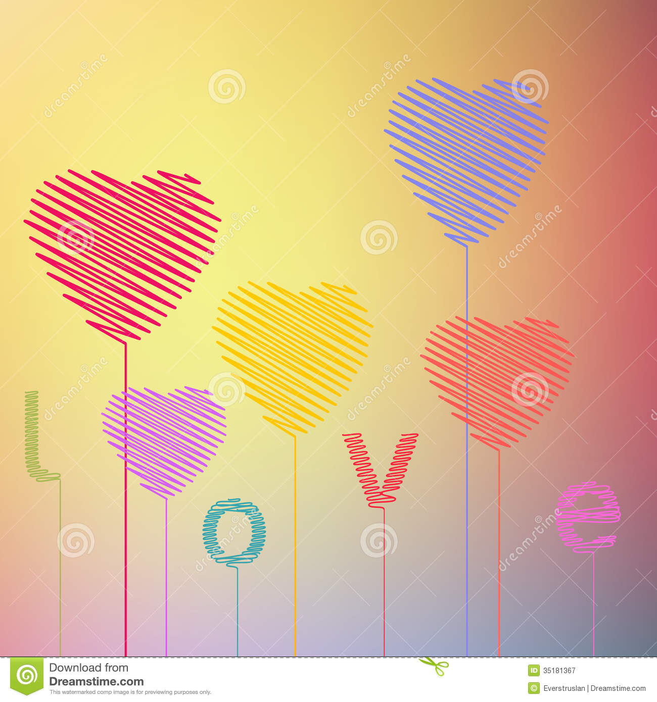 Love Heart Abstract Hand Drawing Balloons Valentin Stock Vector