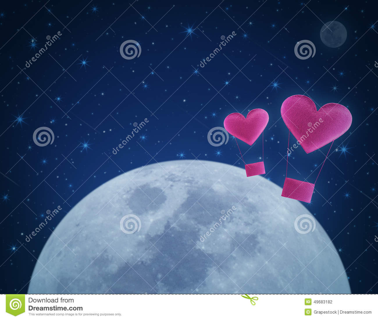 love heart air balloon on fantasy night sky and moon stock