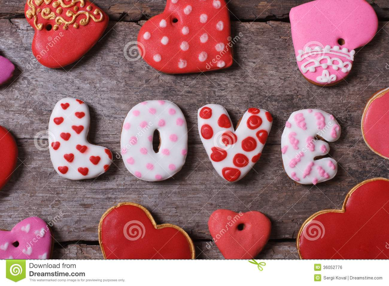 Love And Heart Beautiful Cakes On A Wooden Table Stock