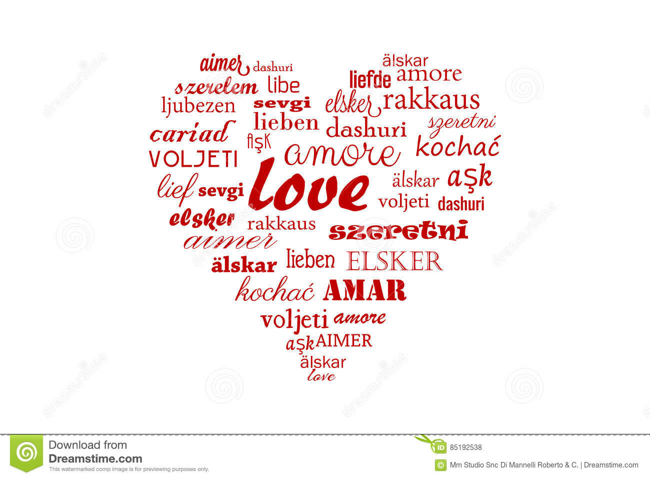 Love Heartigraphy Word Isolated On White Background