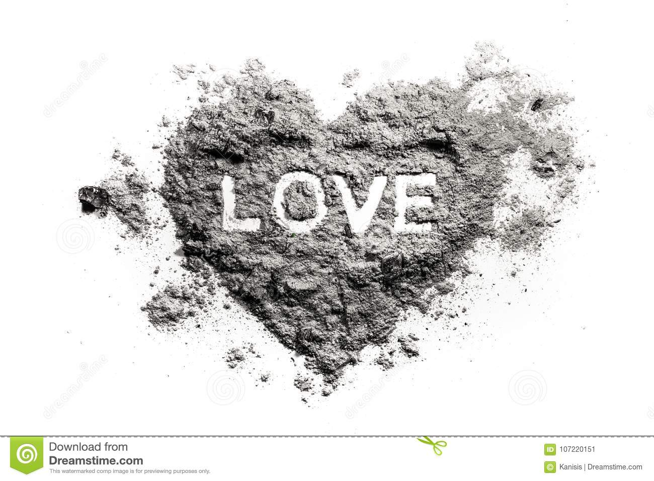Love heart drawing in ash
