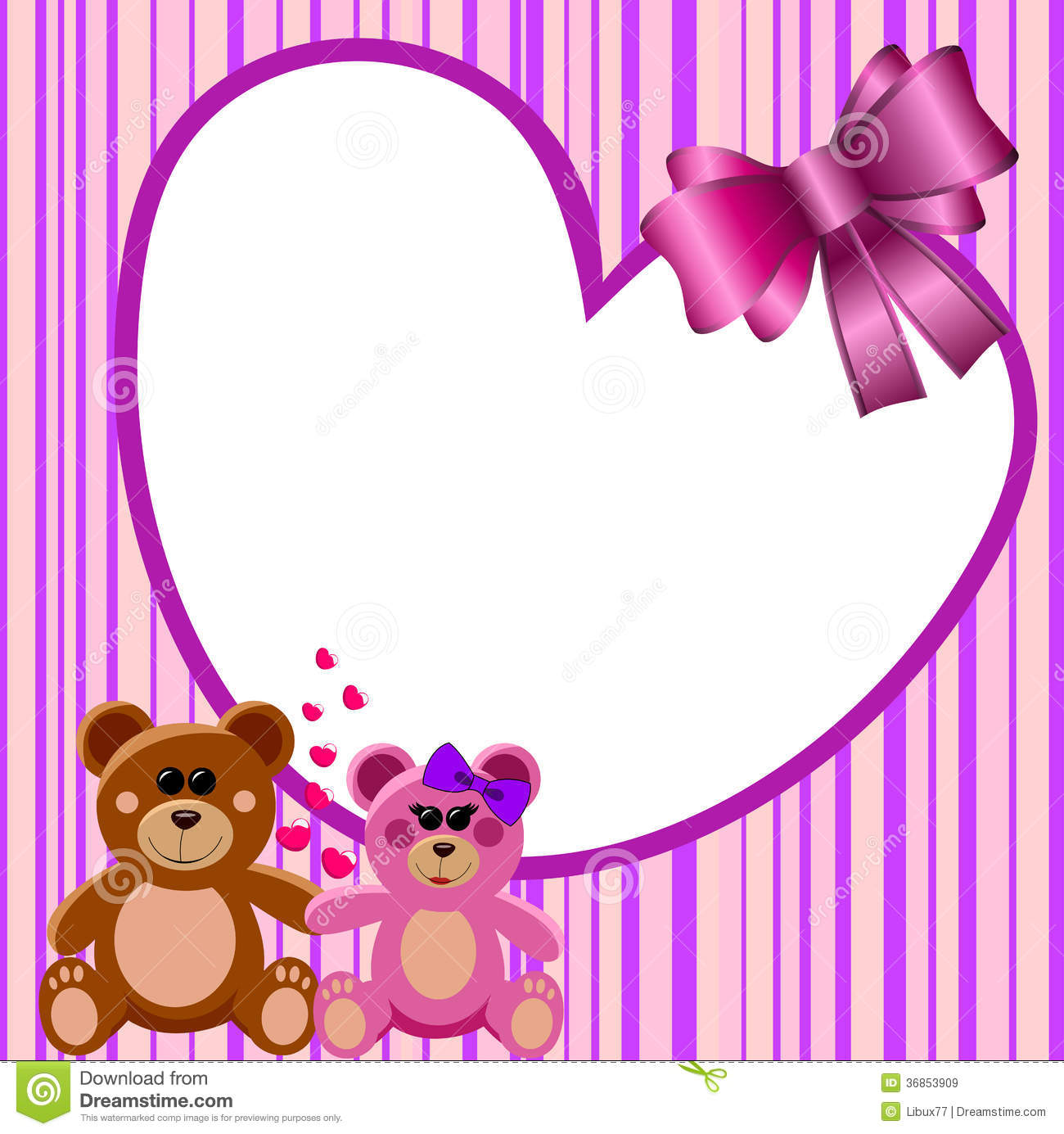 Love Heart Frame Teddy Bears Stock Vector - Illustration of framing ...