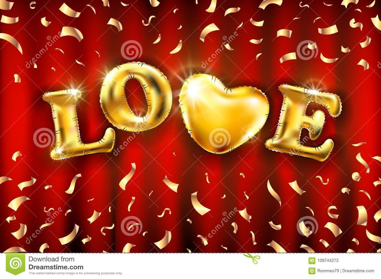 Love Heart Gold Foil Glitter Vector On Red A Curtain Background For