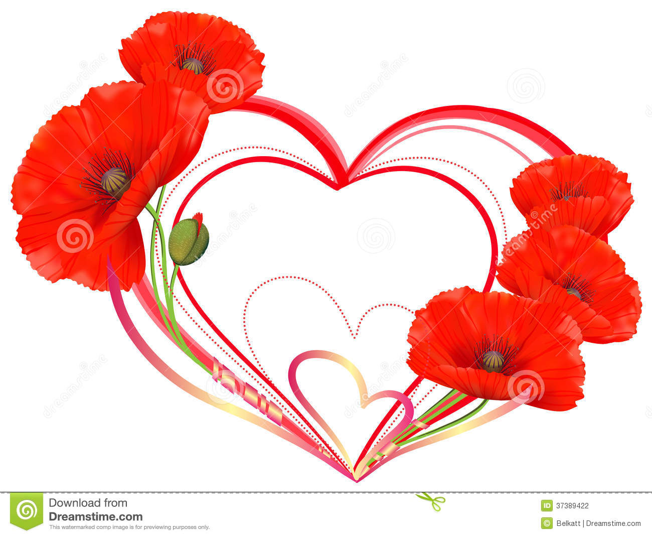 Love Heart Of Red Poppies Stock Photography Image 37389422