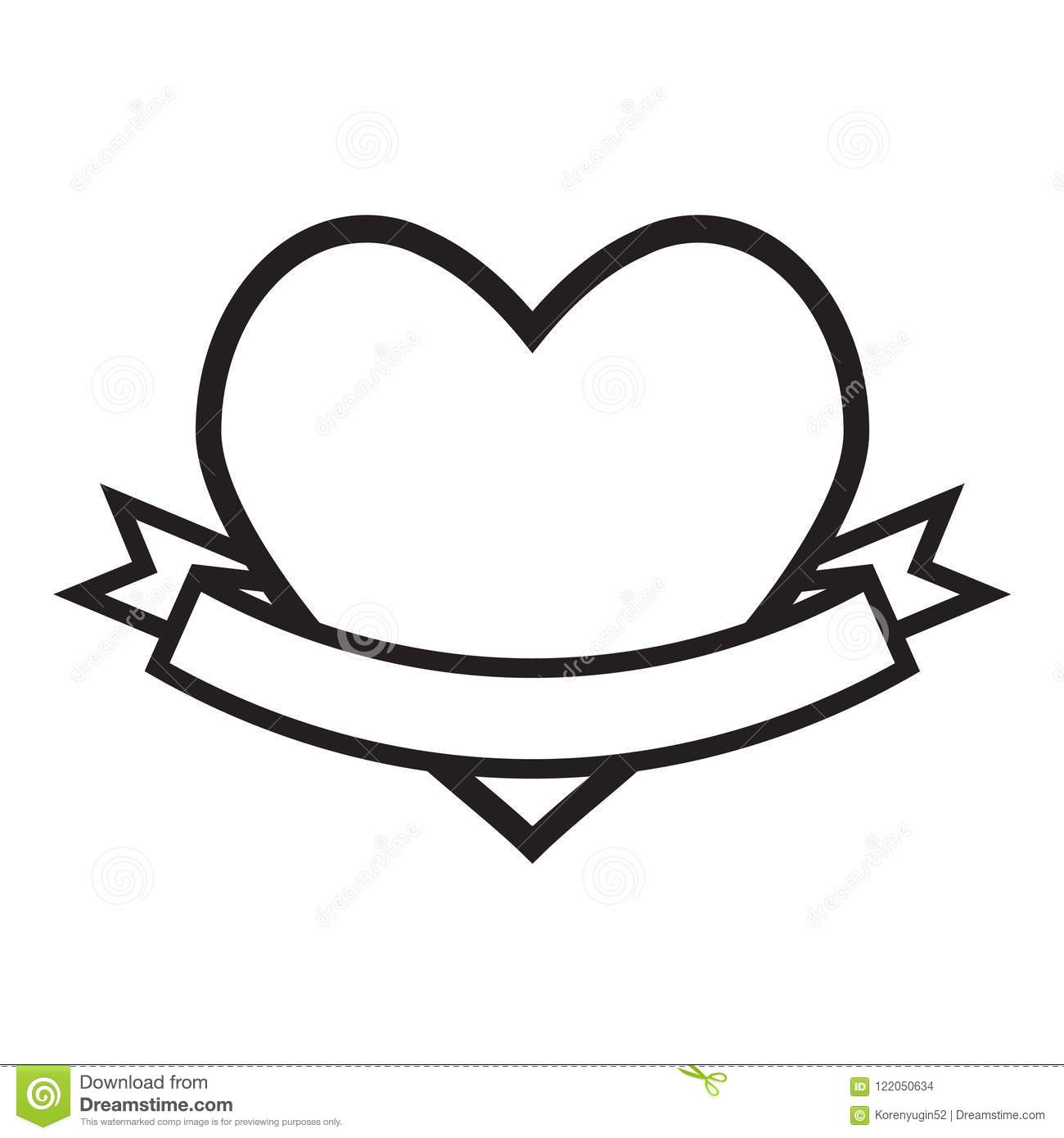 Love Heart With Ribbon Icon On White Stock Vector
