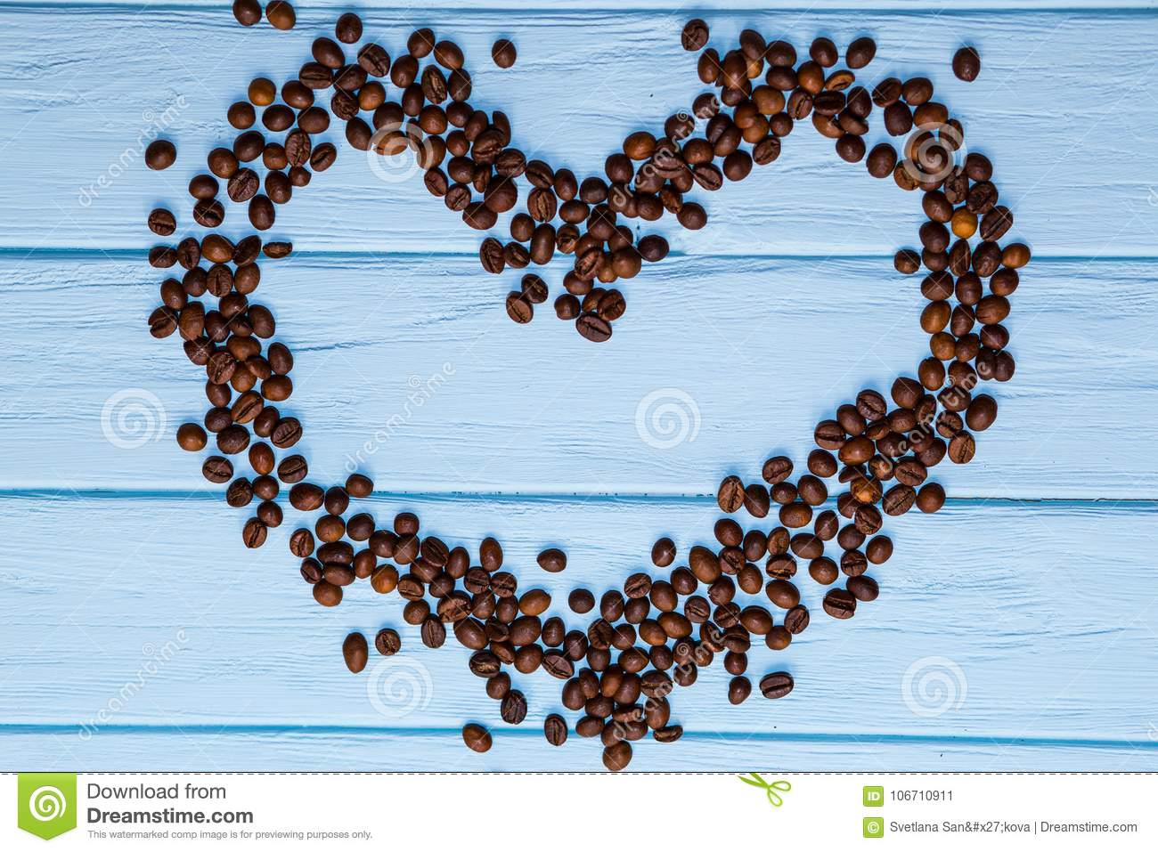 Love heart shape from coffee beans