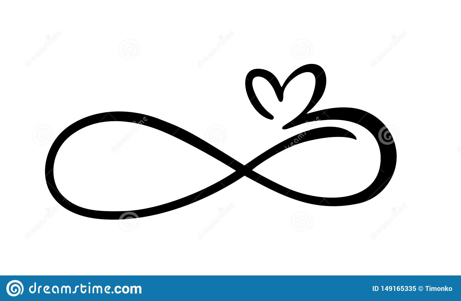 Love The Sign.Love Heart In The Sign Of Infinity Sign On Postcard To
