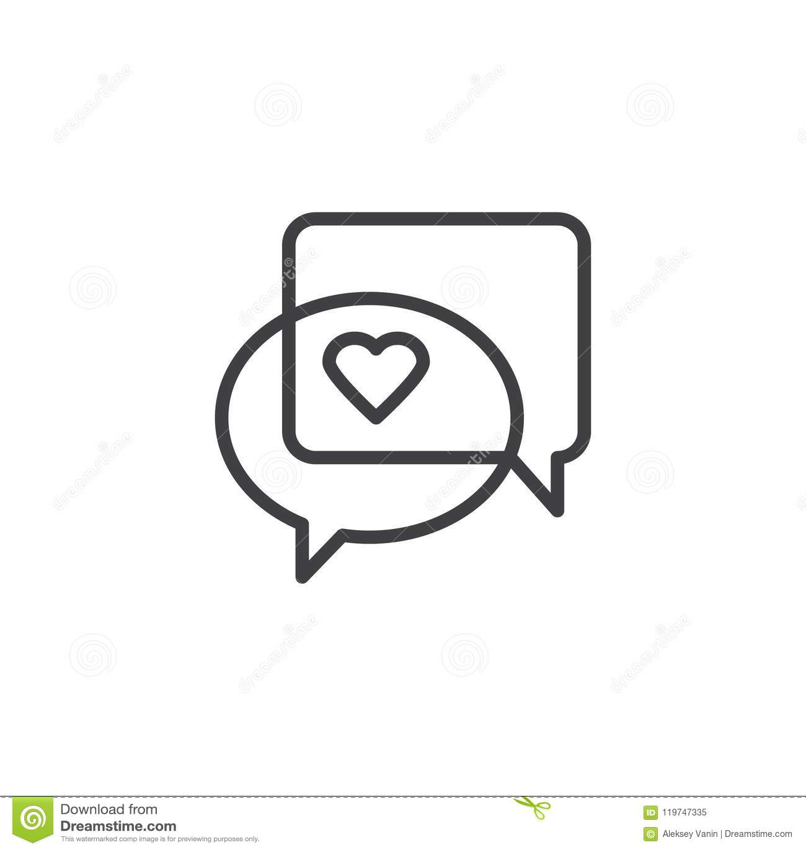 love heart speech bubble outline icon stock vector illustration