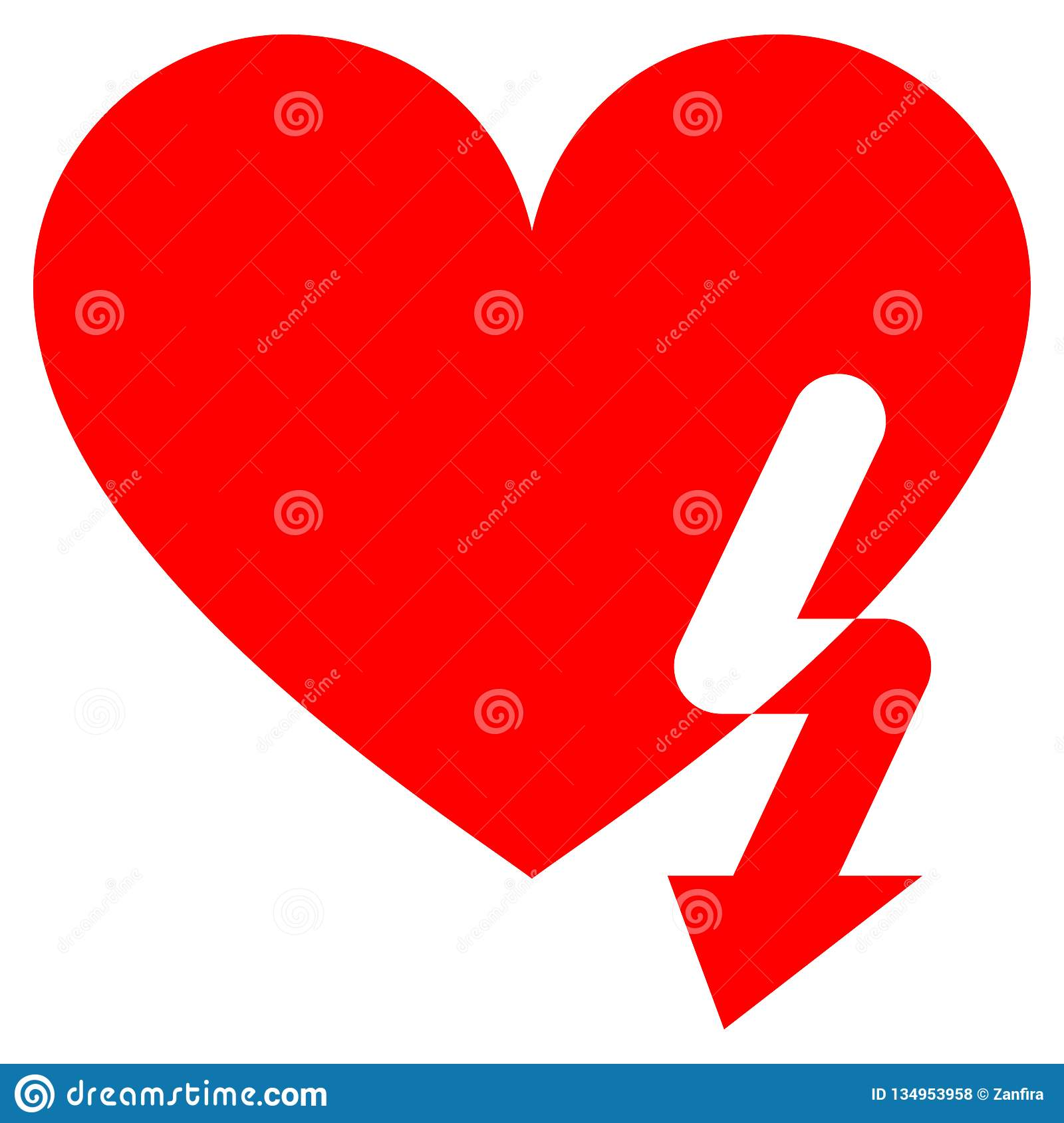 Love Heart Strike Flat Icon Stock Vector - Illustration of icon