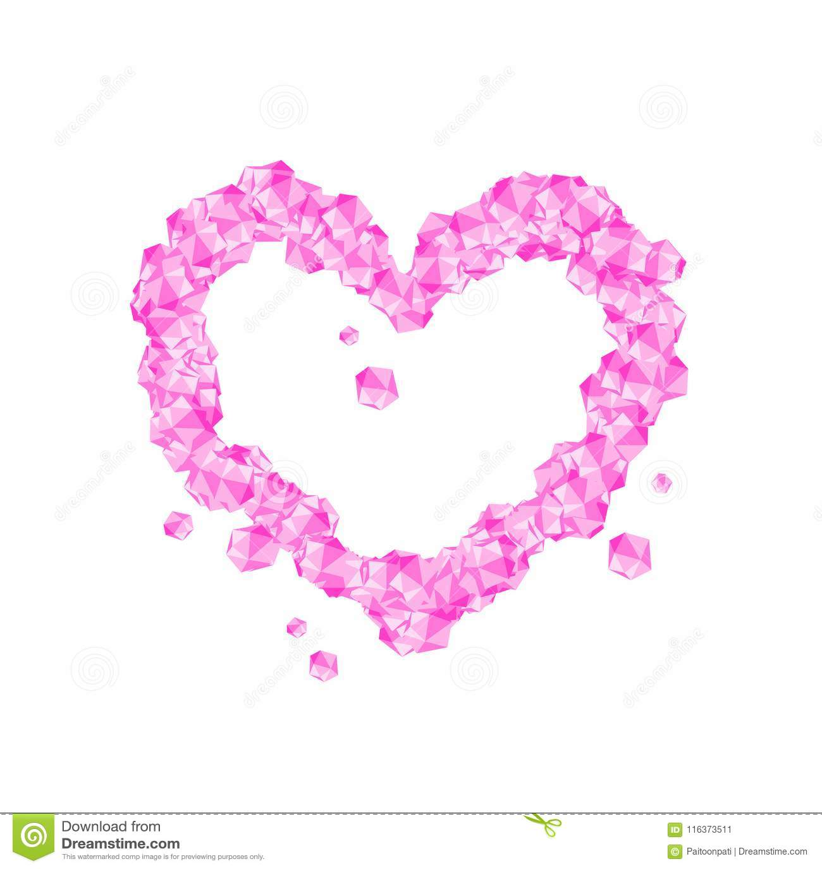 Love Heart Symbol Crystal Diamond 3d Virtual Set Illustration Stock